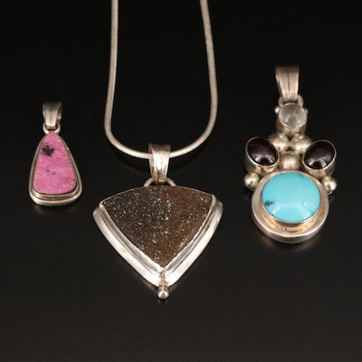 Sterling Necklace and Pendants Including Garnet, Druzy and Turquoise