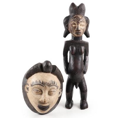 Punu Carved Wooden Mask and Sculpture, Central Africa