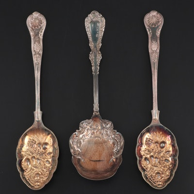 "International Silver ""Plymouth"" and English Silver Plate Serving Spoons"