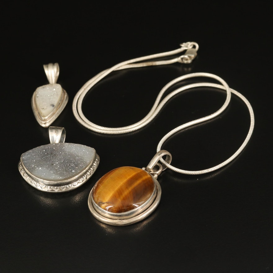 Sterling Tiger's Eye Pendant Necklace with Druzy Pendants