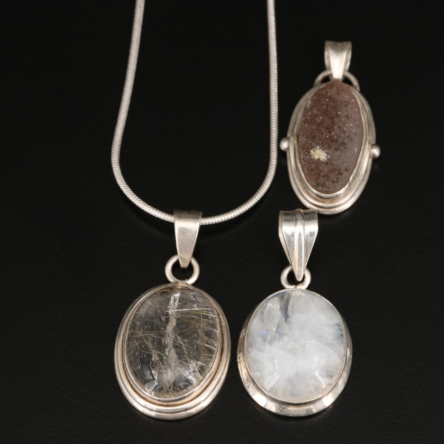 Sterling Pendants and Necklace with Rutilated Quartz, Labradorite and Druzy