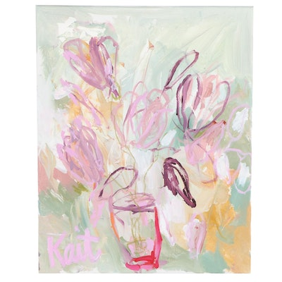 "Kait Roberts Abstract Floral Acrylic Painting ""Song of the Season"""