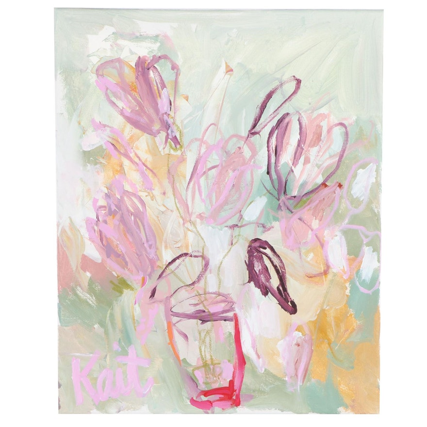 """Kait Roberts Abstract Floral Acrylic Painting """"Song of the Season"""""""