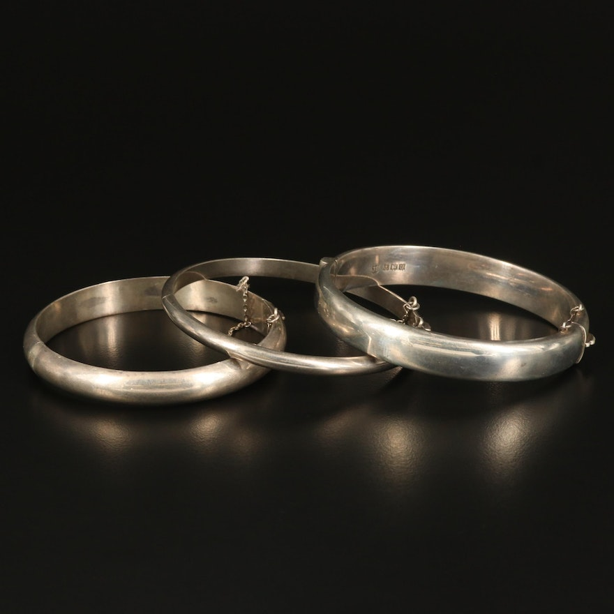 Sterling Hinged Bangles