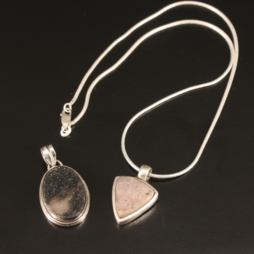 Sterling Druzy Necklace and Pendant
