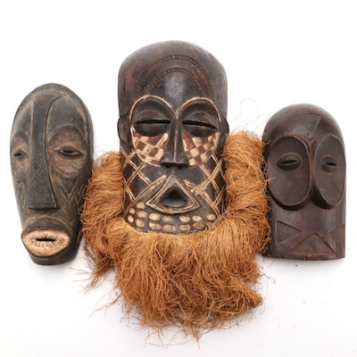 Central African Style Hand-Carved Wood Masks