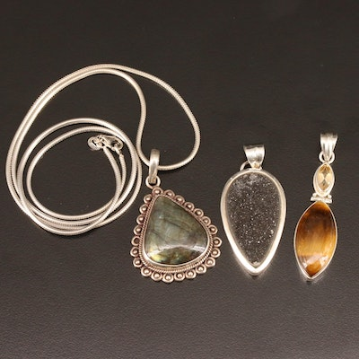 Sterling Pendants and Necklace with Labradorite, Tiger's Eye and Druzy