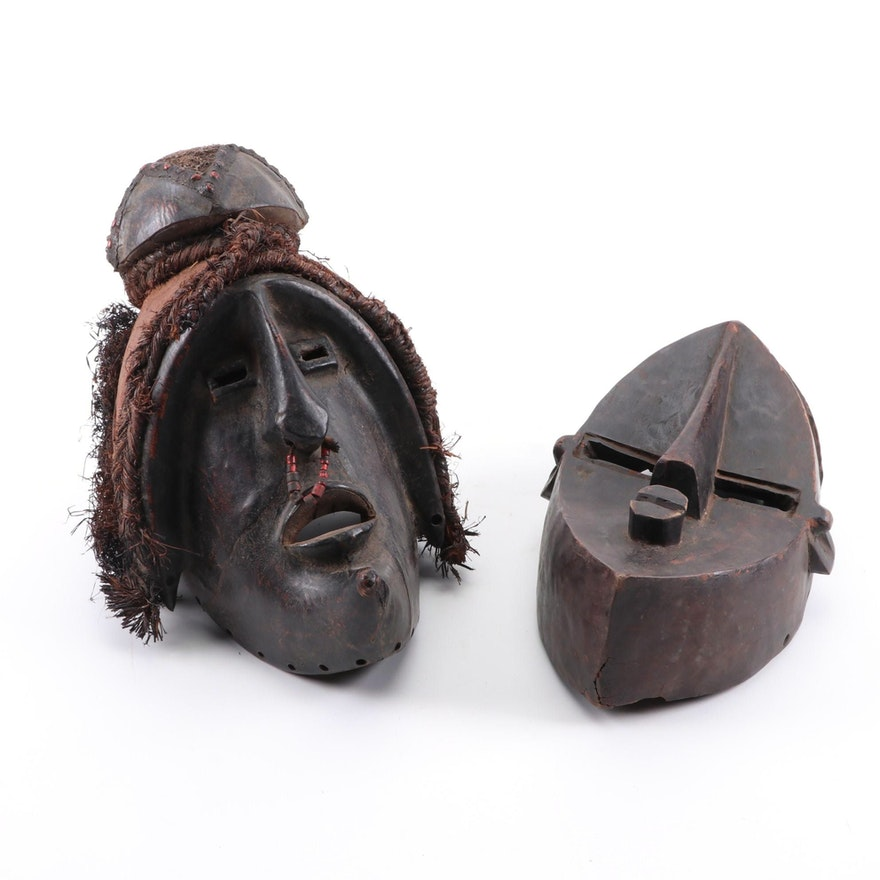 Lwalwa Style and Binji Style Wooden Mask, Democratic Republic of the Congo