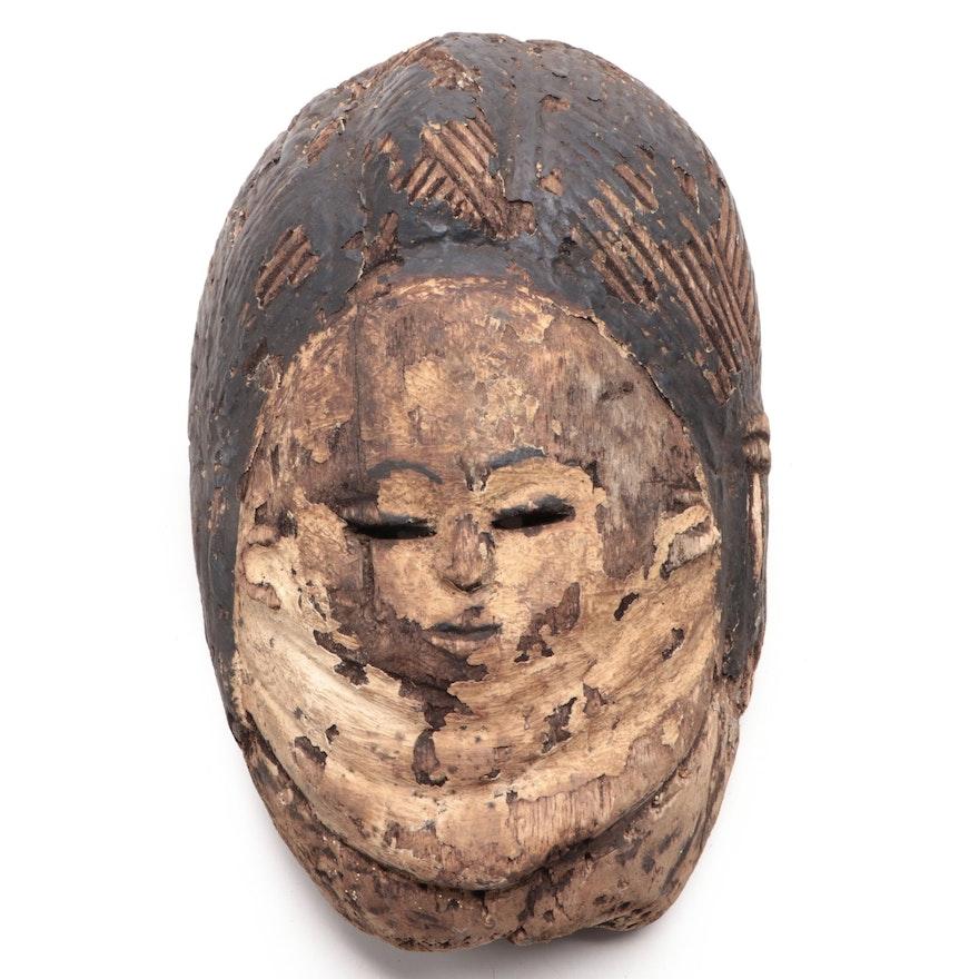 Mende Inspired Carved Wood Mask, West Africa