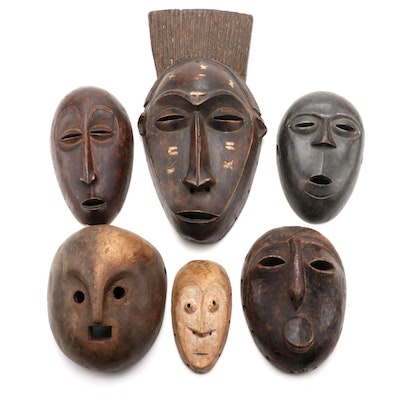 Central African Hand-Carved Wooden Masks