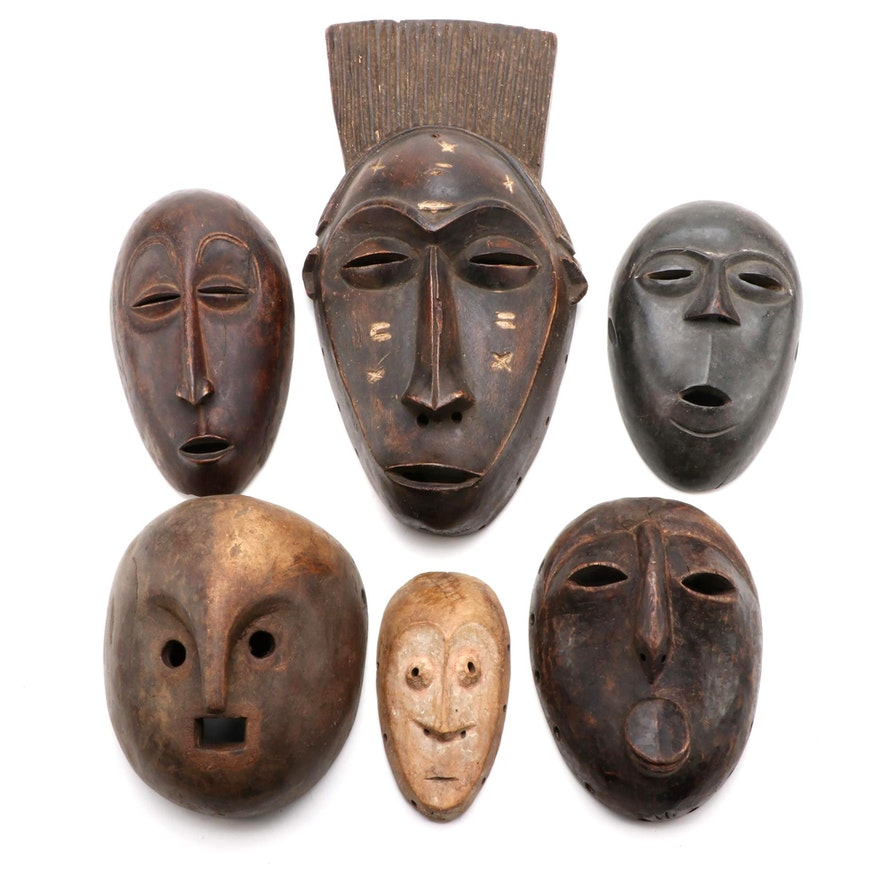 Central African Hand-Carved Wooden Masks
