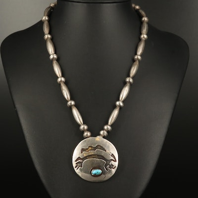 Southwestern Sterling Silver Turquoise Yei Figure Necklace