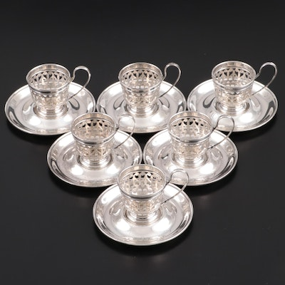 Gorham Sterling Silver Demitasse Zarfs and Saucers, 1925