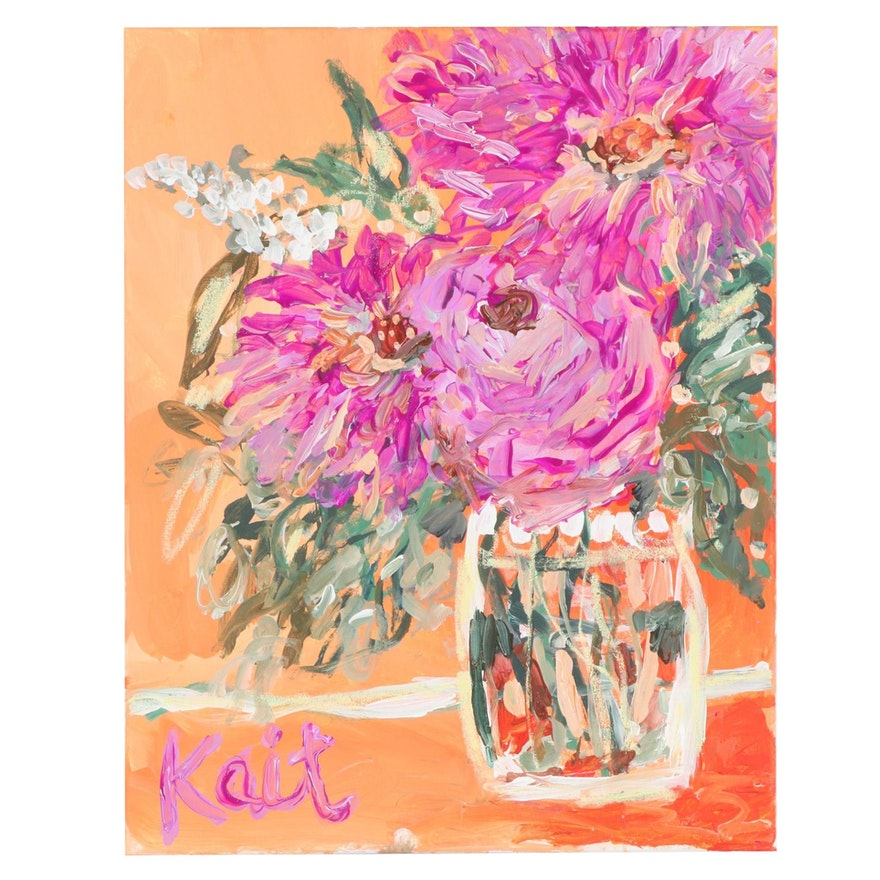 """Kait Roberts Floral Still Life Acrylic Painting """"Thankful,"""" 2020"""