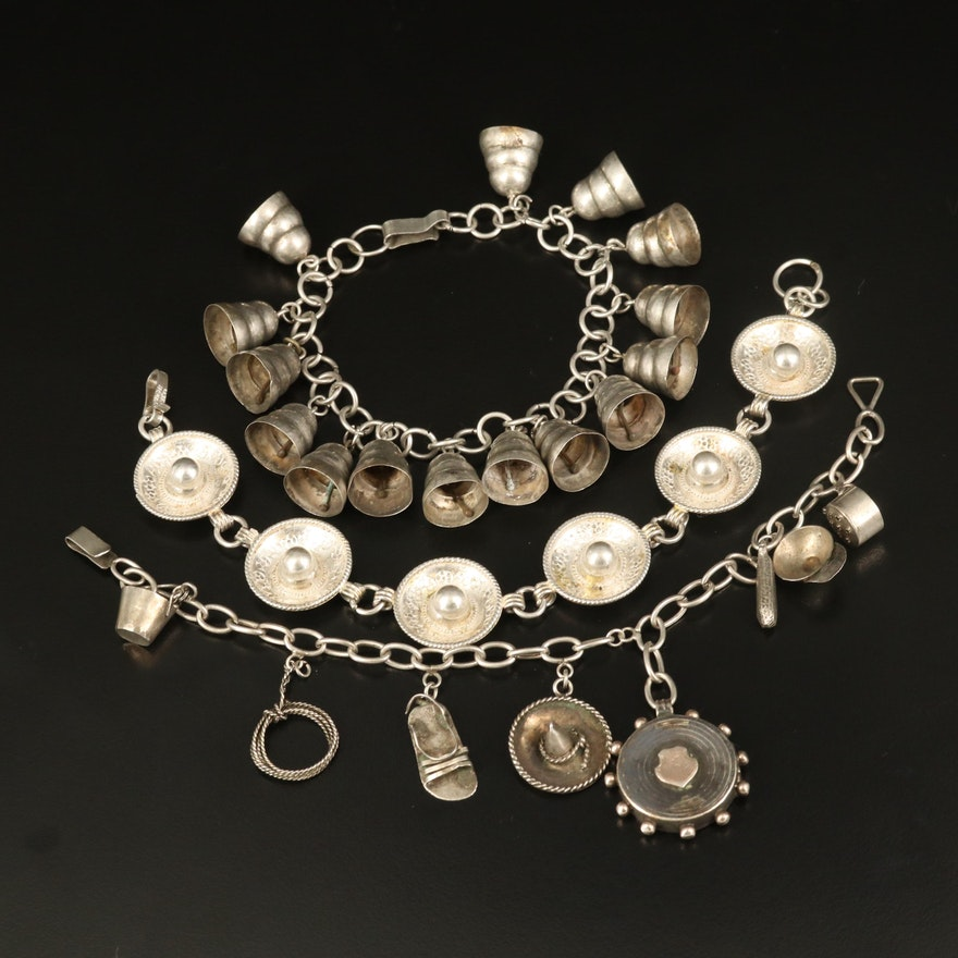 Vintage Sterling Sombrero Link, Bell and Charm Bracelets