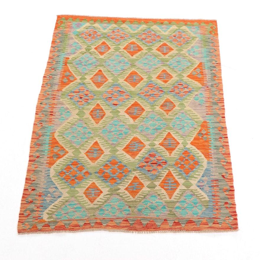 3'11 x 5'7 Handwoven Afghan Kilim Area Rug
