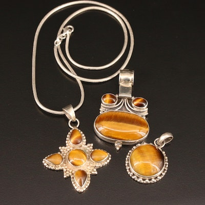 Sterling Silver Tiger's Eye Pendants with Snake Style Chain Necklace