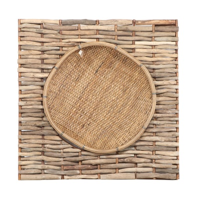 Pottery Barn Driftwood Framed Wall Art with Hanging Grain Basket