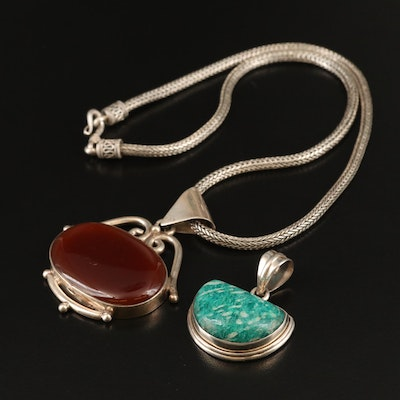 Sterling Silver Carnelian and Amazonite Pendants with Chain