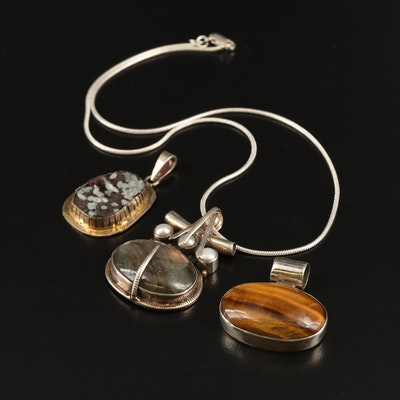 Sterling Silver Pendants and Chain Featuring Tiger's Eye, Labradorite and Druzy