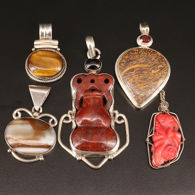Sterling Silver Pendants Featuring Jasper, Tiger's Eye and Agate