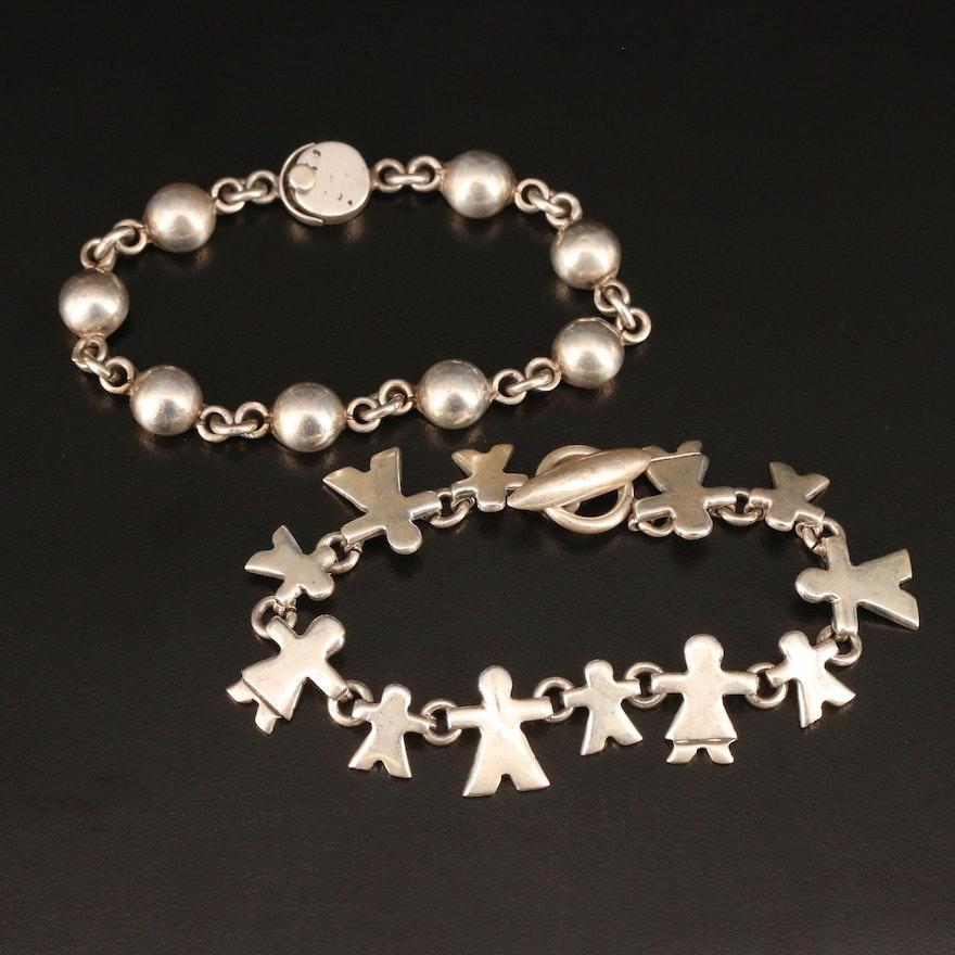 Vintage Sterling Silver Link Bracelets Featuring Figural Design