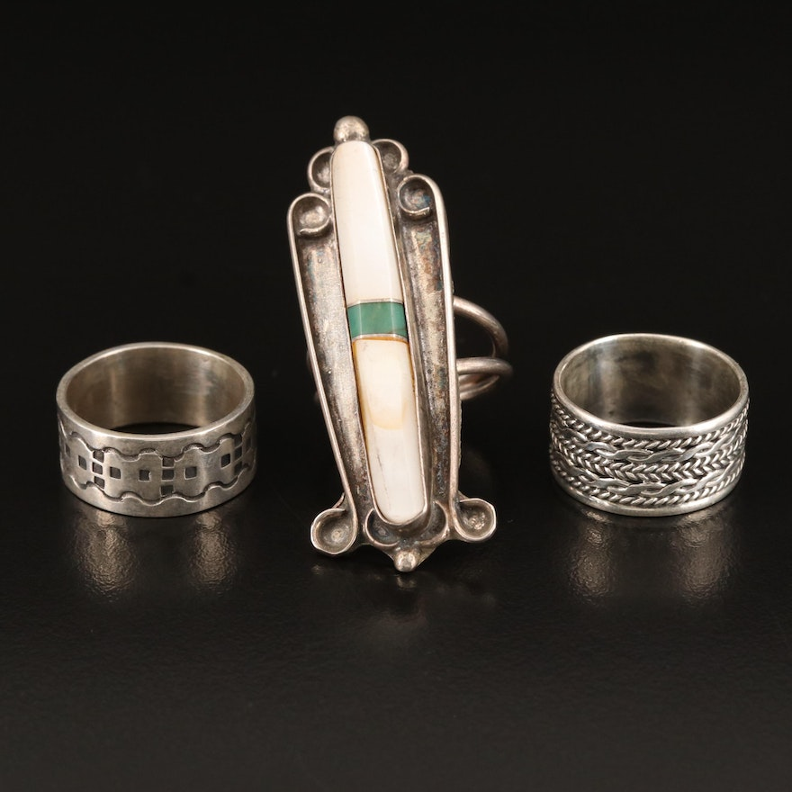 Sterling Bands and Mother of Pearl and Turquoise Pointer Ring