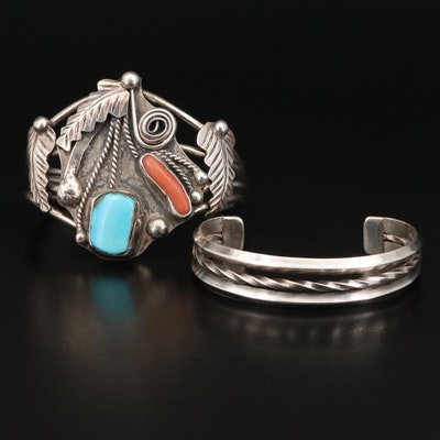 Southwestern Sterling Turquoise and Coral Applique and Twisted Wire Cuffs