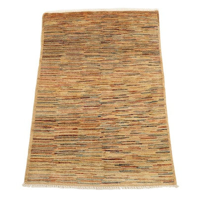 3'3 x 5'0 Hand-Knotted Afghan Gabbeh Modern Style Area Rug