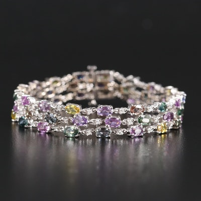 14K 11.73 CTW Sapphire and Diamond Multi Strand Bracelet