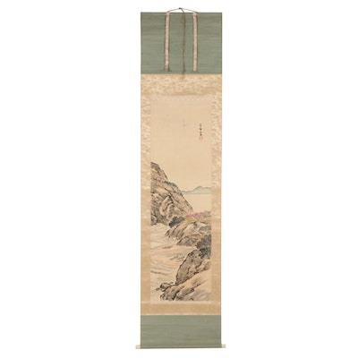 Chinese Ink and Watercolor Scroll Painting of Coastal Landscape