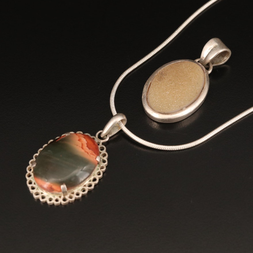 Sterling Necklace and Pendants Including Jasper and Druzy