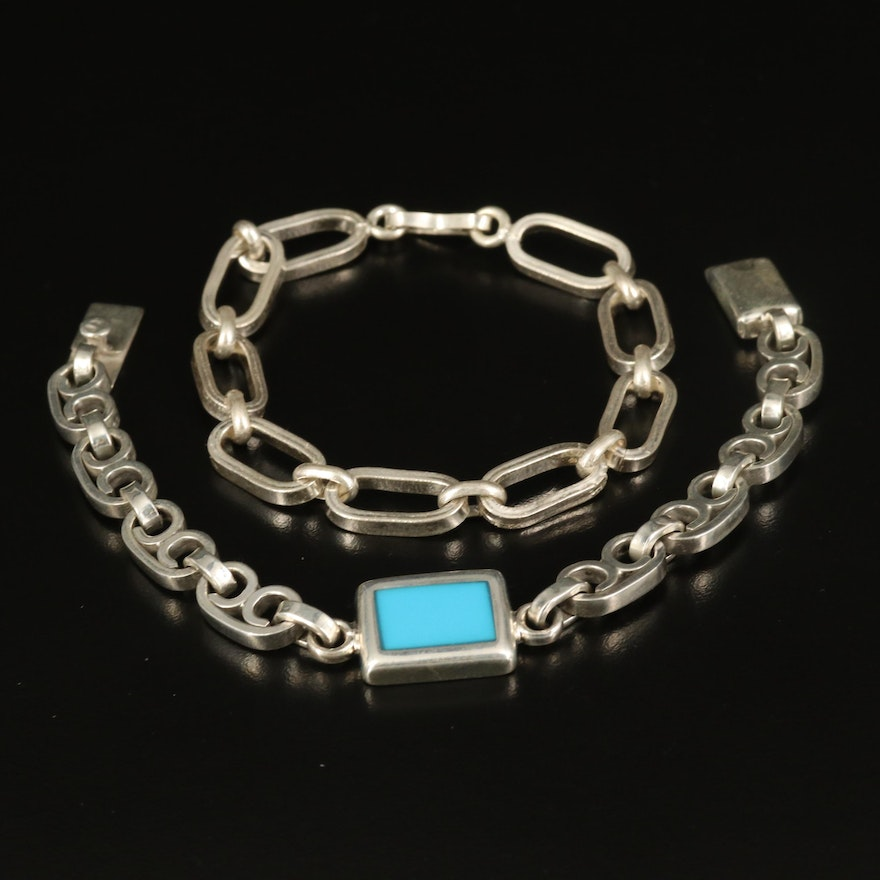 Sterling Faux Turquoise Inlay and Oval Link Bracelets
