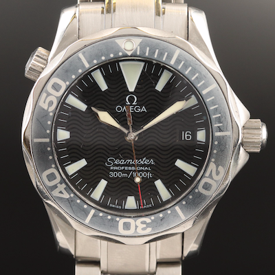Omega Seamaster Midsize Stainless Steel and Aluminum Wristwatch
