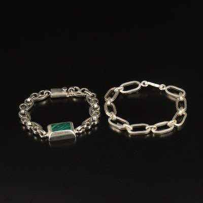 Sterling Faux Malachite Inlay and Oval Link Bracelets