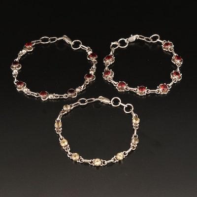 Sterling Garnet and Citrine Bracelets