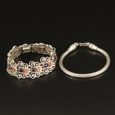 Sterling Amethyst and Coral Panel Link and Foxtail Chain Bracelets