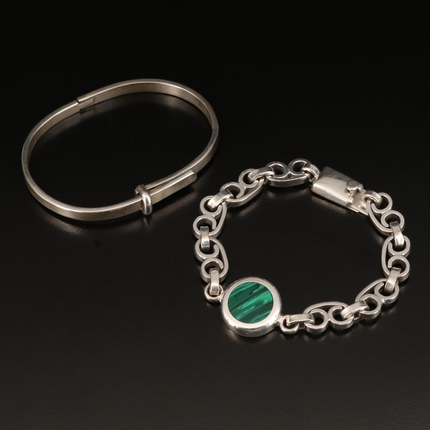 Sterling Hinged Buckle Bangle and Sterling Faux Malachite Bracelet