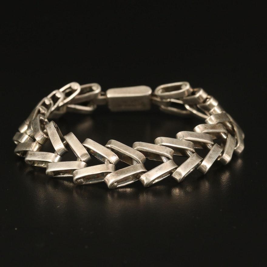 Sterling Chevron Link Bracelet
