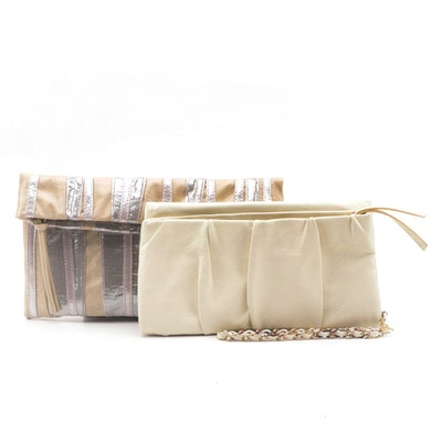 Express Beige/Silver Metallic and Ivory Wristlet Clutches