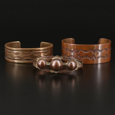 Copper and Brass Stampwork Cuffs