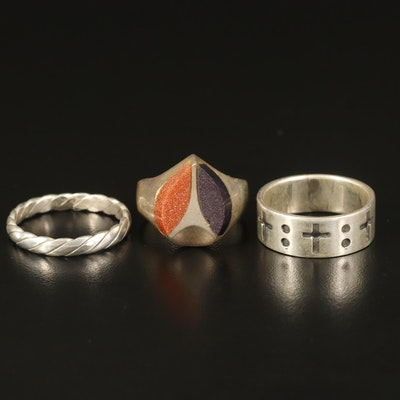 Sterling Rings Including Cross Band and Goldstone Glass Ring