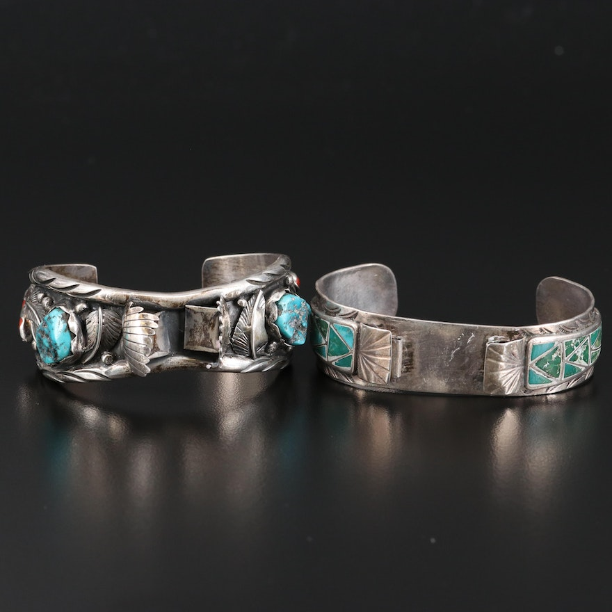 S. Jon Sterling Silver Turquoise and Coral Watch Cuffs