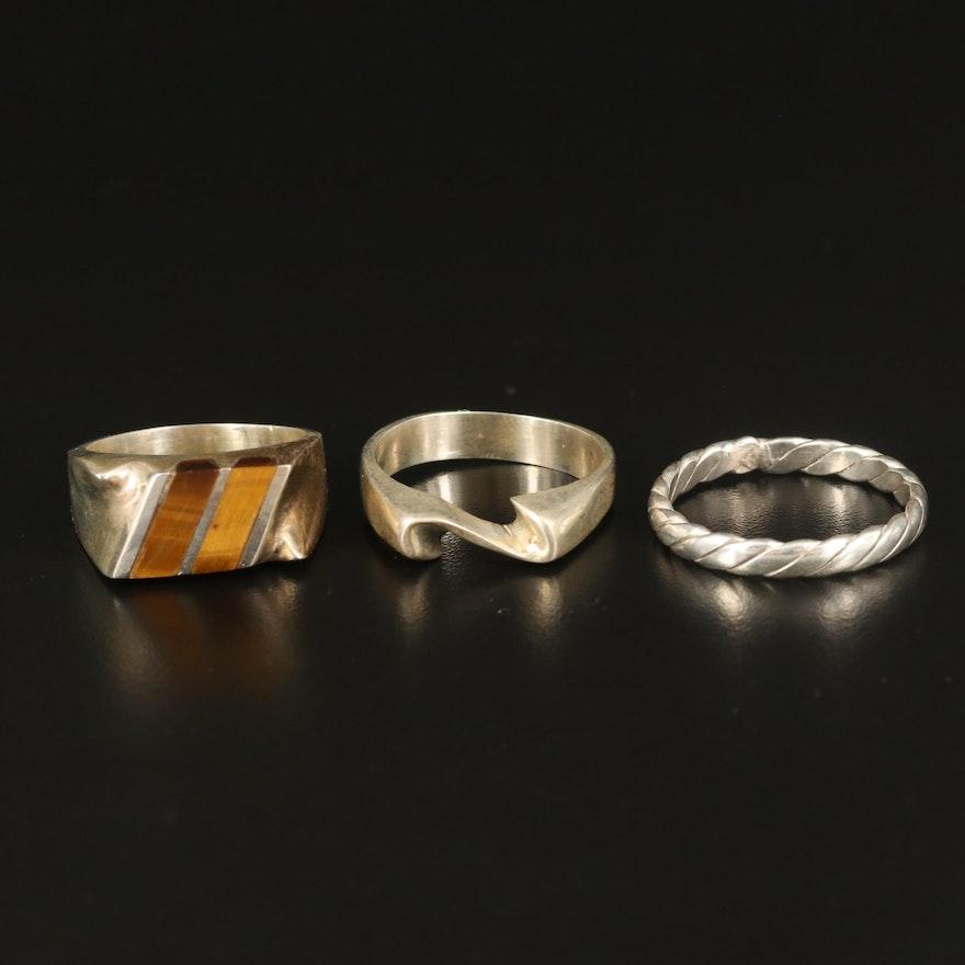 Sterling Rings Including Tiger's Eye