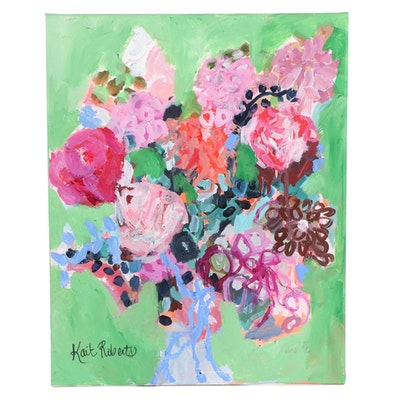 "Kait Roberts Acrylic Painting ""Flowers for Marie,"" 2020"