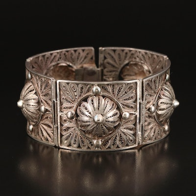 Vintage Sterling Filigree Panel Bracelet