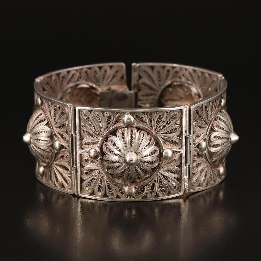Vintage Sterling Filigree Panel Bracelet