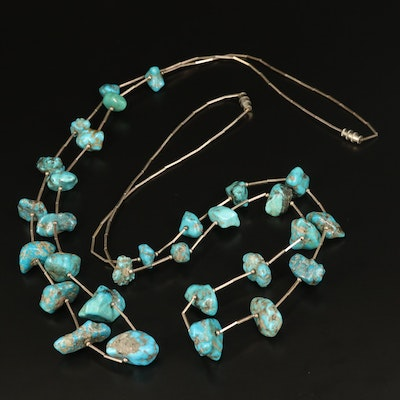Sterling Silver Turquoise Station Necklaces