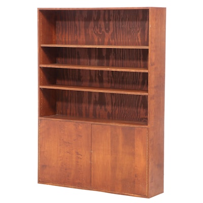 Cherry-Stained Wood Cabinet Bookcase, Late 20th/Early 21st Century