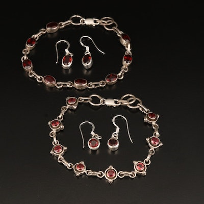 Sterling Garnet Bracelet and Earrings